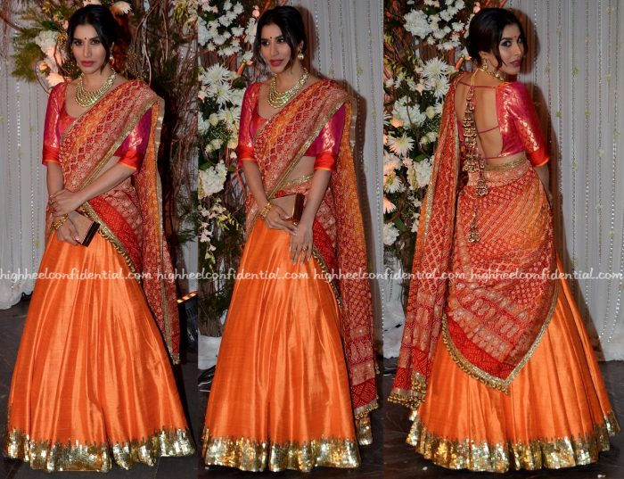 Sophie Choudry In Manish Malhotra At Bipasha Basu-Karan Singh Grover Wedding Reception-1