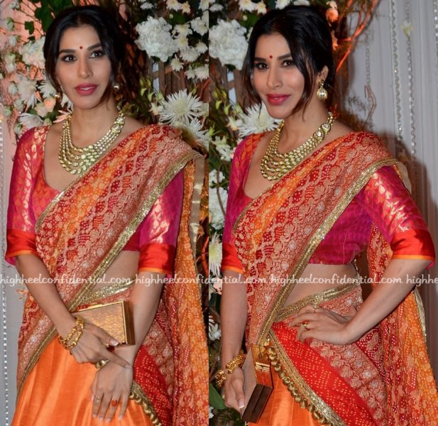 Sophie Choudry In Manish Malhotra At Bipasha Basu-Karan Singh Grover Wedding Reception-2