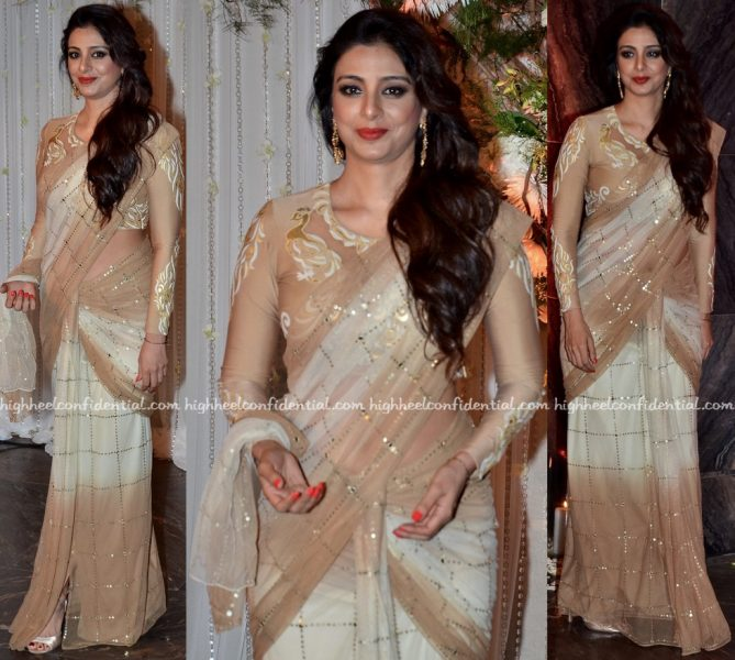 Tabu In Abu Jani Sandeep Khosla At Bipasha Basu-Karan Singh Grover Wedding Reception-2