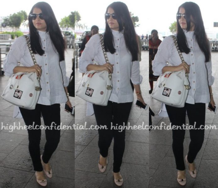 Travel(v)ogue- Aishwarya Rai Bachchan (Wearing Chola By Sohaya) Photographed At Mumbai Airport