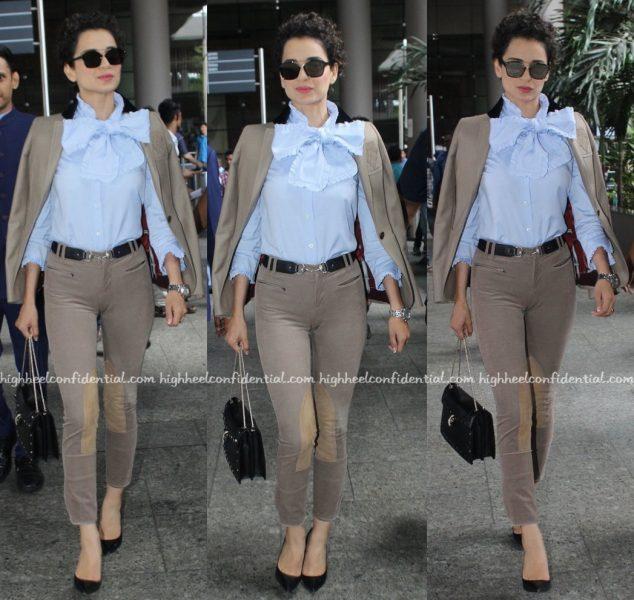 Travel(v)ogue- Kangana Ranaut (Wearing Gucci) Photographed At The Airport-1