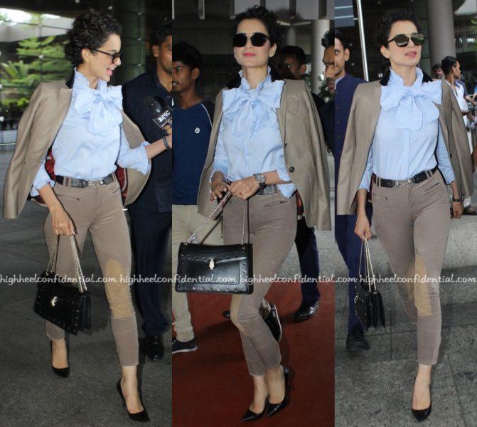 Travel(v)ogue- Kangana Ranaut (Wearing Gucci) Photographed At The Airport-2