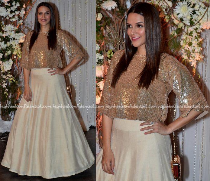 neha dhupia In Manish Malhotra At Bipasha Basu-Karan Singh Grover Wedding Reception-1