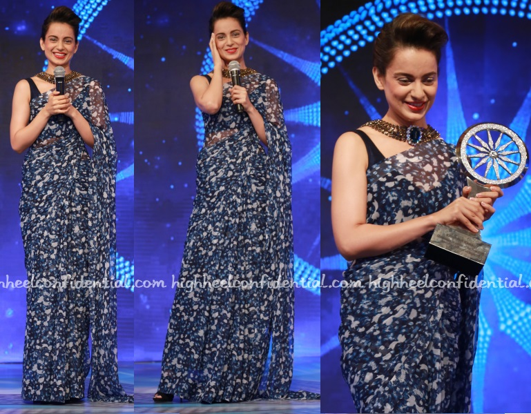 kangana-ranaut-sari-cnn-indian-of-year-awards-2016