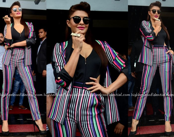 Jacqueline Fernandez Wears Karn Malhotra To Dishoom Promotions-1