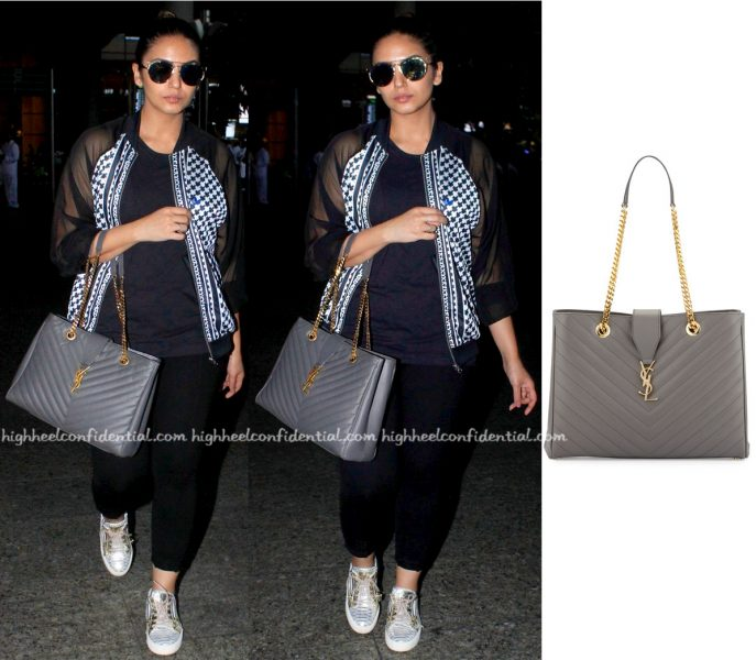 Travel(v)ogue- Huma Qureshi Photographed With A Saint Laurent Bag At Mumbai Airport