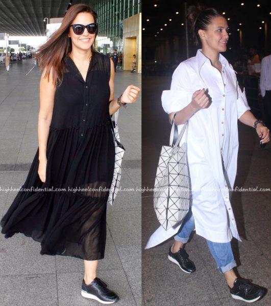 neha dhupia-mumbai airport-lovebirds designs-chola by sohaya-1