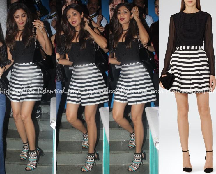 shilpa-shetty-reiss-striped-shorts-night-out