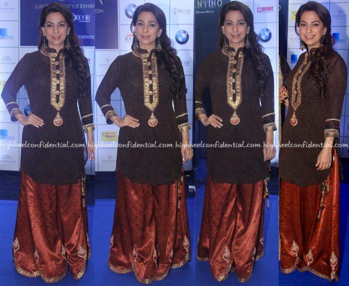 Juhi Chawla Wears Sangeeta Kilachand To Joya Exhibition Opening