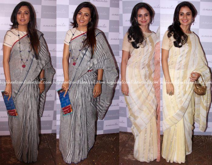 Mini Mathur And Rasika Dugal Wear Anavila Saris To The Designer's Store Launch In Mumbai