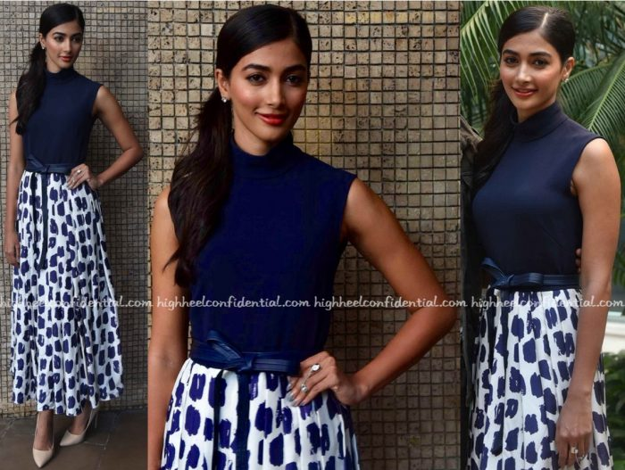 Pooja Hegde In Martin Grant At Mohenjo Daro Promotions In Delhi