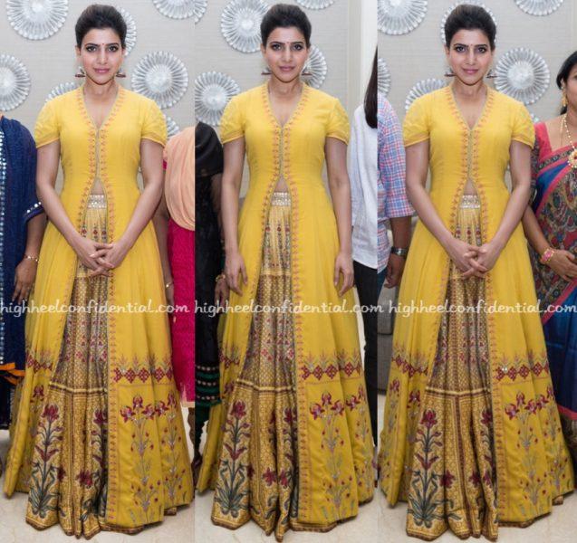 Samantha Ruth Prabhu Wears Anita Dongre To A Restaurant Launch In Hyderabad