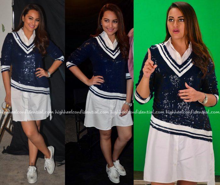 Sonakshi Sinha Wears Monisha Jaising To Akira Promotions-2