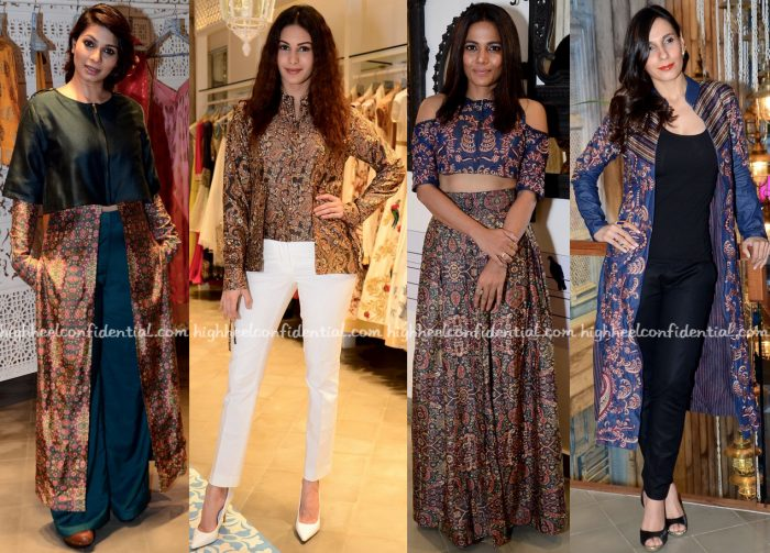 Tanishaa Mukerji, Amyra Dastur, Priyanka Bose And Ramona Arena In Shruti Sancheti At The Designer's Collection Launch At Kashish Infioré-2