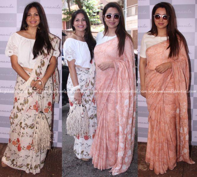 Tisca Chopra And Maria Goretti Wear Anavila Saris To The Designer's Store Launch In Mumbai