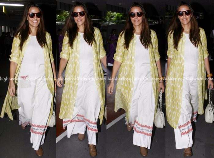 Neha Dhupia Photographed In Anita Dongre Grassroot At The Airport