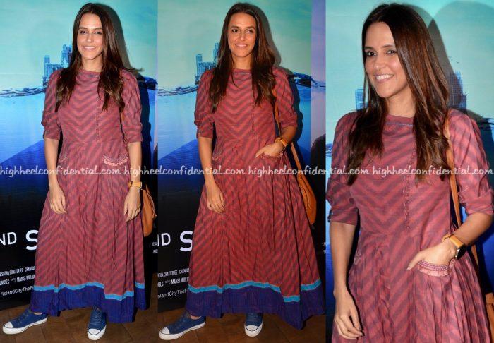 Neha Dhupia Wears Anita Dongre Grassroot To 2nd September Screening-2