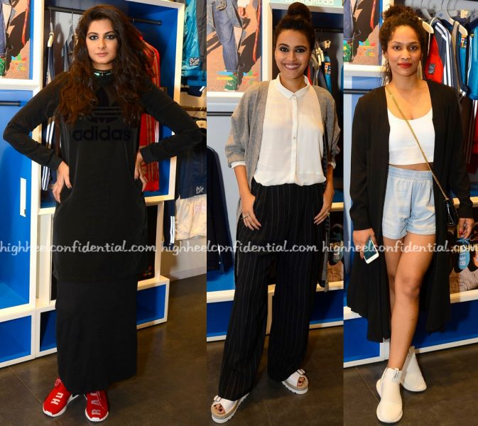 rhea-kapoor-swara-bhaskar-and-masaba-gupta-at-pharrell-williams-x-adidas-launch-1