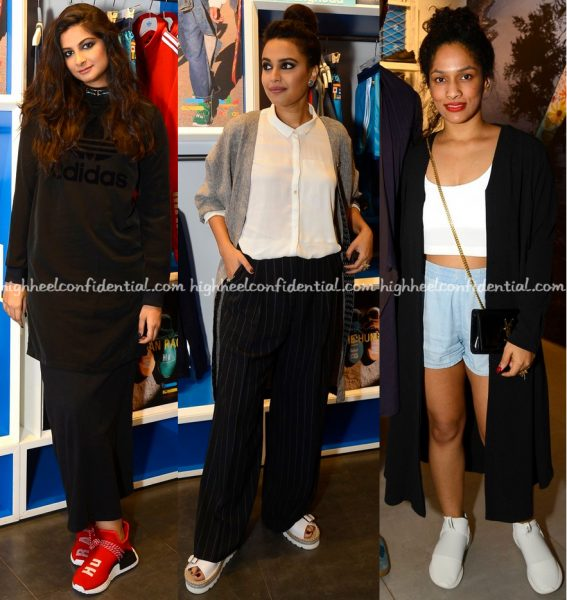 rhea-kapoor-swara-bhaskar-and-masaba-gupta-at-pharrell-williams-x-adidas-launch-2