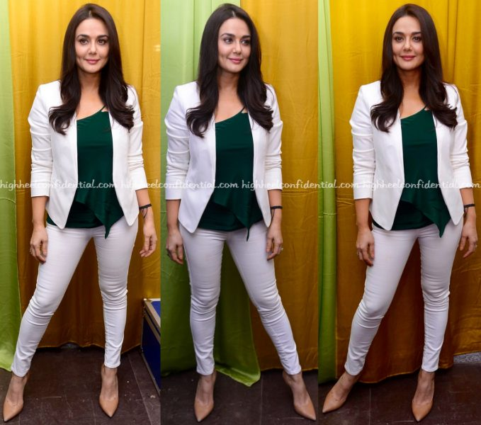 Preity Zinta Wears Ralph Lauren And Forever New To Roop Mantra Press Meet And Shoot