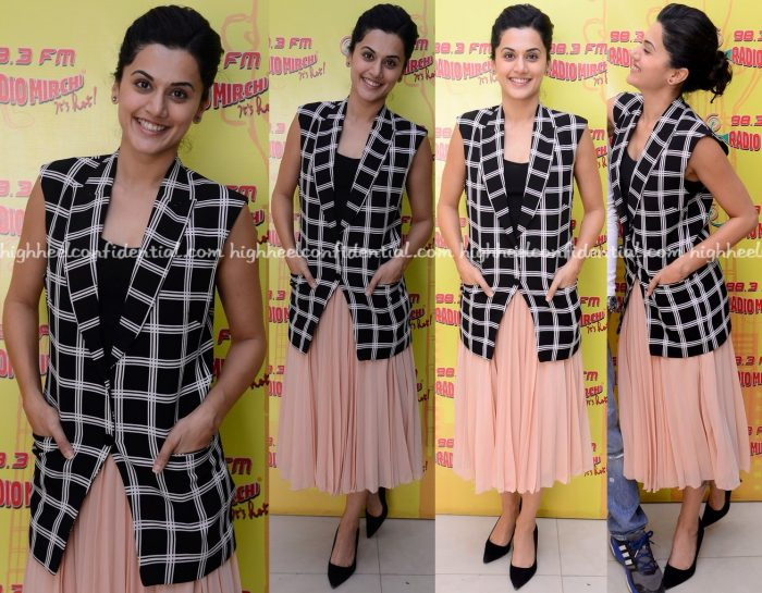 Taapsee Pannu Wears Harsh Harsh And ASOS To Radio Mirchi Sets For 'Runningshaadi.com' Promotions